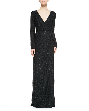 Elle Long-Sleeve Embellished Column Gown