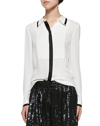 Quiana Long-Sleeve Blouse W/ Contrast Trim & Aleah Sequined A-Line Mini ...