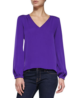 Arlenis Long-Sleeve Silk Top, Chrome Purple