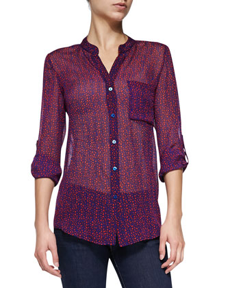 GIlmore Sheer Printed Silk Blouse