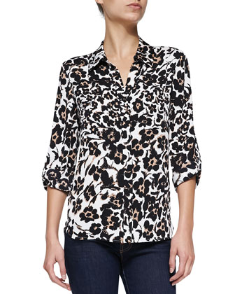 Lorelei Floral-Print Silk Blouse, Cheetah