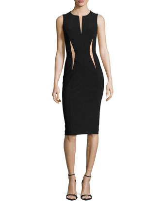 Contrast-Slit Crepe Dress
