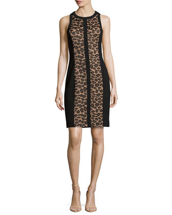 Leopard Lace Illusion Sheath Dress