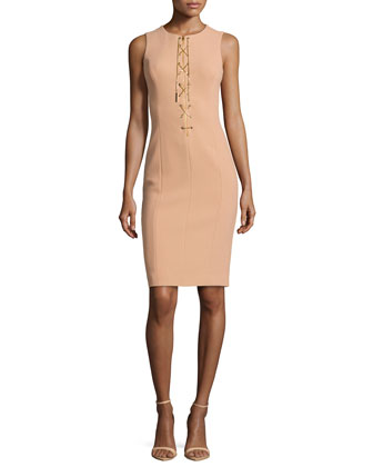 Chain-Front Fitted Dress, Suntan