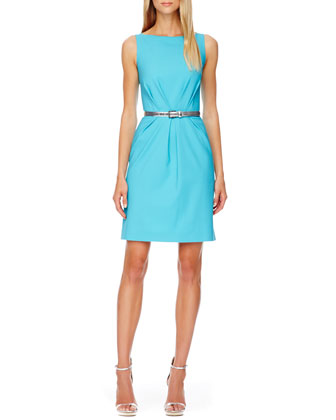 Belted Pleated Crepe Dress, Aqua