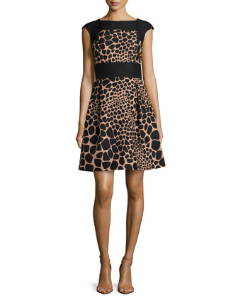Croc-Print Colorblock Bell Dress, Suntan/Black