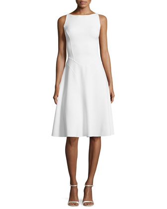 Seamed Stretch-Wool Dress, White