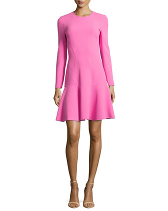 Flare-Hem Knit Dress, Carnation
