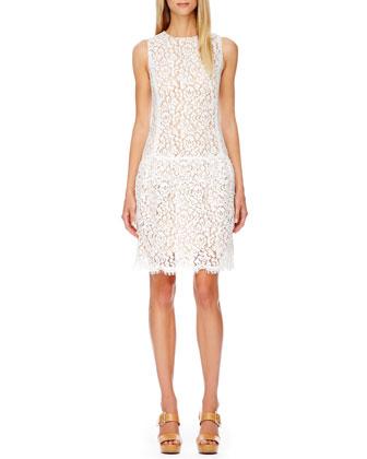 Drop-Waist Lace Dress, Optic White