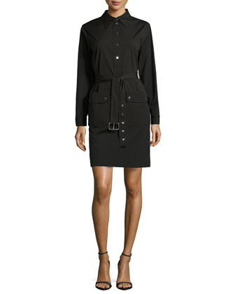 Belted Long-Sleeve Shirtdress, Black