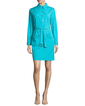 Belted Long-Sleeve Shirtdress, Aqua