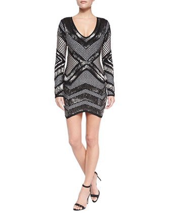 Rowyn Geometric Beaded Dress