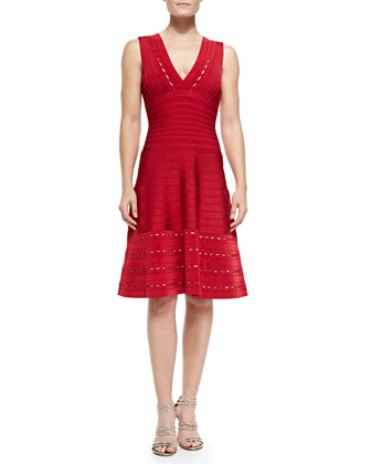 Kyra Eyelet-Trim Dress, Lipstick Red