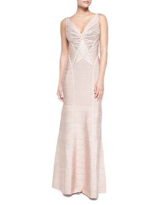 Merlyn Sleeveless Sequined Sunburst Gown