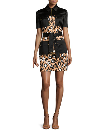 Animal-Print Belted Shirtdress