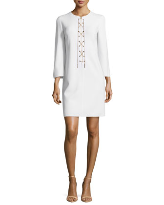 Long-Sleeve Chain-Front Tunic Dress, White