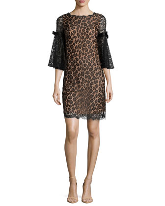 Bell-Sleeve Leopard Lace Shift Dress