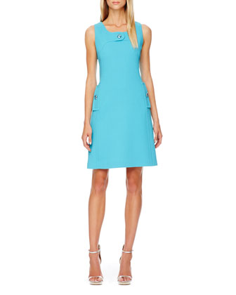 Sleeveless Boucle Button Dress, Aqua