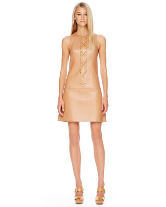 Chain-Front Leather Dress, Suntan