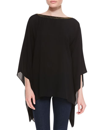 Stud-Neck Silk Tunic, Black