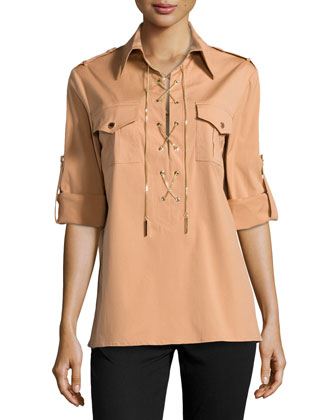 Chain-Front Safari Shirt, Suntan