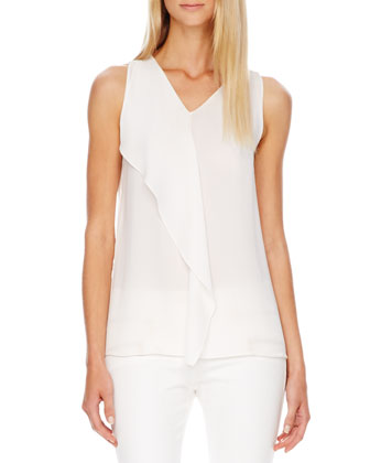 Flutter-Panel Silk Top, White