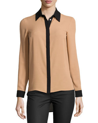 High-Low Silk Colorblock Shirt, Suntan