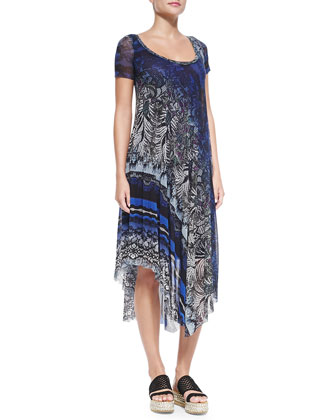 Short-Sleeve Printed Dress W/ Asymmetric Hem