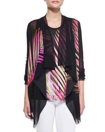 Fern-Print Cardigan with Draped Front & Sleeveless Graphic Fern-Print Top