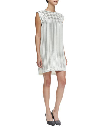 Lars Sleeveless Metallic-Stripe Dress