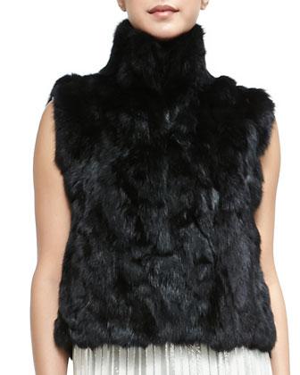 Rabbit Fur Turtleneck Vest & Lars Sleeveless Metallic-Stripe Dress