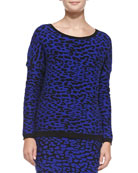 Leopard-Jacquard Knit Pullover Sweater