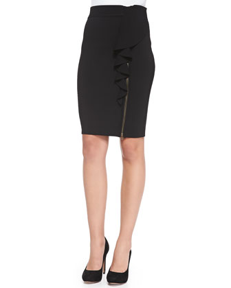 Angela Ruffled Zipper Pencil Skirt
