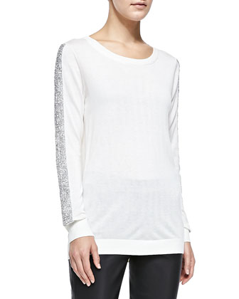 Evelyn Beaded-Sleeve Knit Sweater