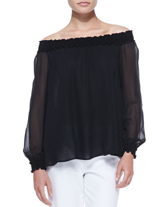 Off-The-Shoulder Silk Top, Black