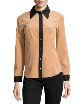 Colorblock Crepe De Chine Blouse, Suntan