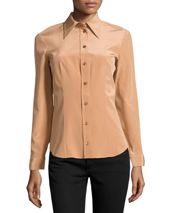 Silk Long-Sleeve Button-Front Shirt, Suntan