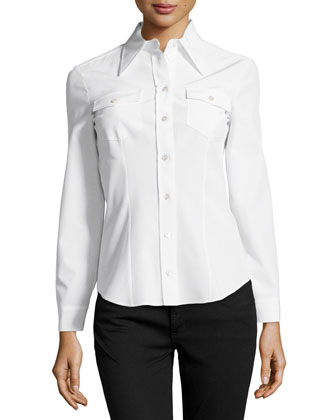 Long-Sleeve Button Silk Shirt, White
