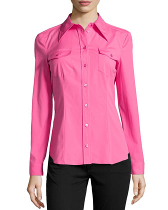 Long-Sleeve Stretch Poplin Blouse, Carnation