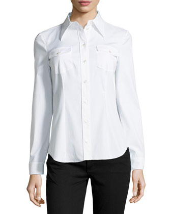 Long-Sleeve Stretch Poplin Blouse, Optic White
