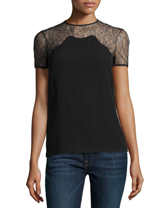 Chantilly Lace-Trim Short-Sleeve Shell, Black