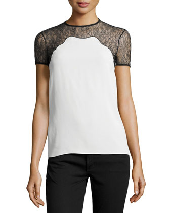 Chantilly Lace-Trim Short-Sleeve Shell, White