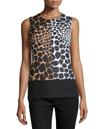 Sleeveless Colorblock Croc-Print Shell