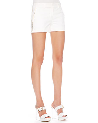 Stud-Side Twill Shorts, White