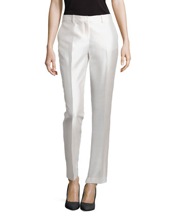 Slim Shantung Pants, White