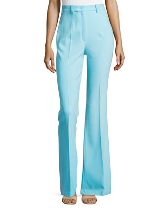 Flared Wool-Blend Trousers, Harbor