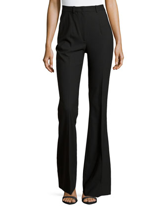 Stretch-Wool Flared Trousers, Black