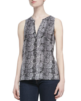 Corette Snake-Print Sleeveless Top