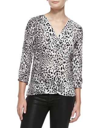 Willy V-Neck Leopard-Print Blouse