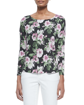 Emele Floral-Print Jersey Top